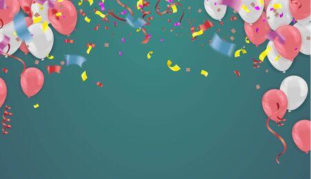 Globos de color brillante fiesta confeti concepto plantilla de diseño de vacaciones feliz día, celebración de fondo ilustración vectorial