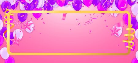 Celebration & Happy birthday banner and balloons Purple and pink isolated on background