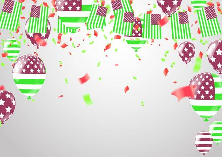 green celebration with ribbon, confetti and balloon Illustration