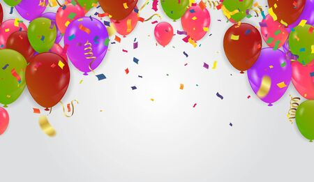 Holiday or background with colorful balloon, gift, confetti.  일러스트