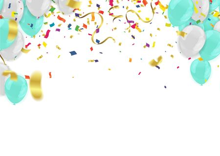Abstract Background with Shining white and blue Balloons. Birthday, Party, Presentation