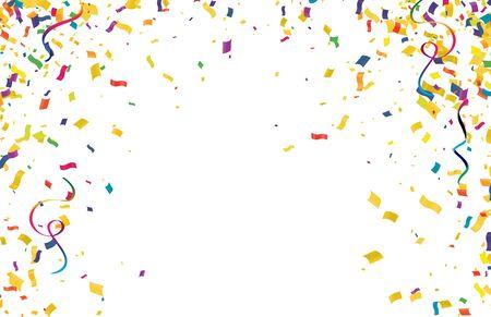 Colorful confetti isolated on white background , Sale Golden Foil Texture. Childrens Foil Confetti Border.