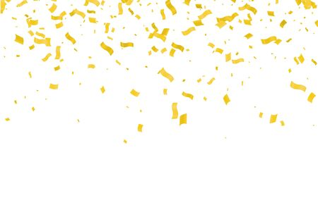 Many Falling Gold color Tiny Confetti And Ribbon On White Background Vectores