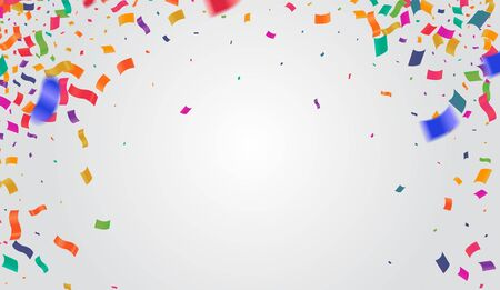 Abstract background with many falling colorful tiny confetti pieces. Vector background, Stock vector Vectores