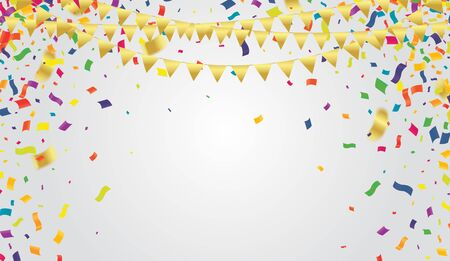 Many Falling Colorful Tiny Confetti And Ribbon On Transparent Background for party or festival