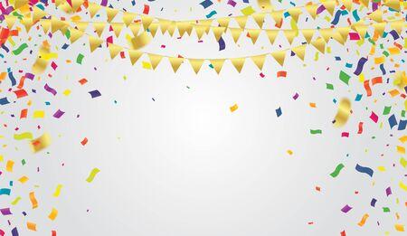 Viele fallende bunte kleine Konfetti und Band auf transparentem Hintergrund für Party oder Festival