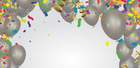 Celebration festive background with balloons icons and objects.