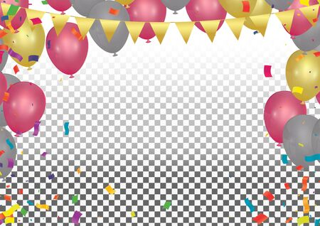 Holiday background with colorful balloons. Vector illustration for holiday or greeting cards, web, print