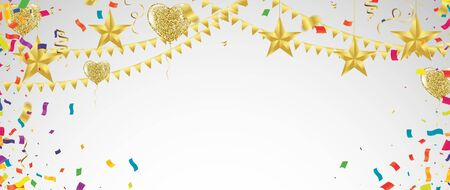 Colored confetti and balloons on the checked background. vector file.