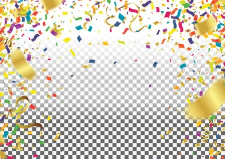 balloon party background with colorful streamers for celebrating a carnival forming a border around copy space with scattered confetti Illustration
