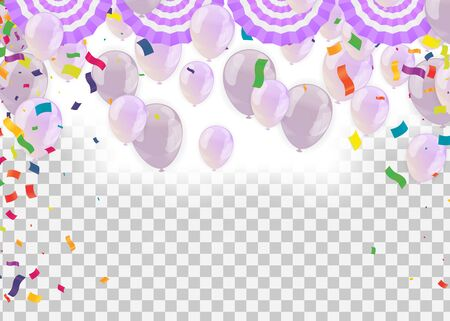 balloons colorful confetti Celebration carnival ribbons. luxury greeting rich card.