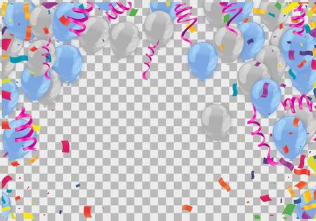Colored confetti with ribbons and balloons on the white. Illustration
