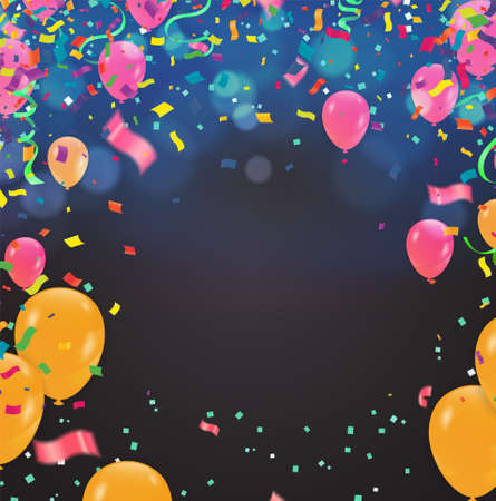 Border of realistic colorful helium balloons isolated on background. Party decoration frame for birthday, anniversary Vektorgrafik