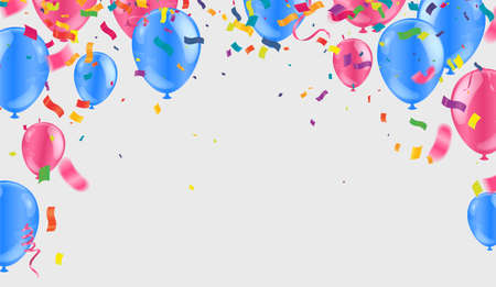 Border of realistic colorful helium balloons isolated on background. Party decoration frame for birthday, anniversary