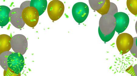 Gold color Celebration party banner with Gold balloons confetti background. Vector illustration