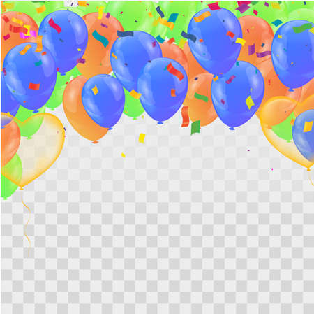 Celebration party banner with golden balloons and serpentine. Vector Illustratie