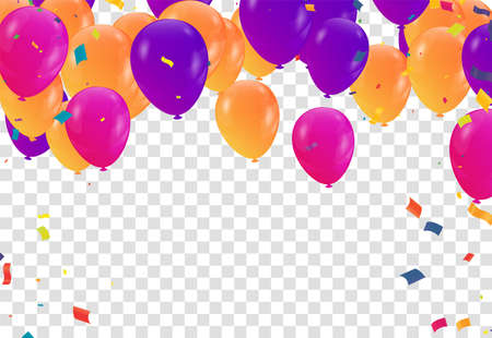 Happy Birthday. Design template with Bunch of colorful balloons, falling confetti for poster, invitation
