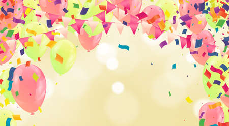Background illustration of colorful lot of balloons 110 years anniversary and multicolored balloons