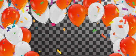 Birthday and celebration banner colorful balloons, falling confetti for poster, invitation Illusztráció