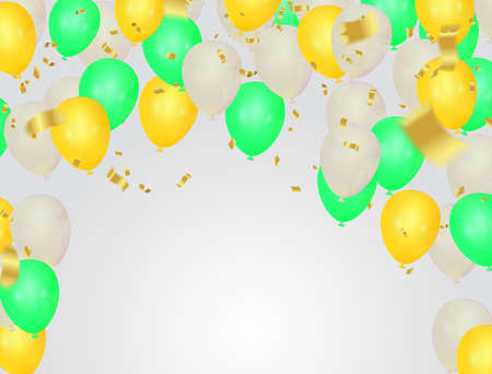 Bright holiday background with balloons and flags