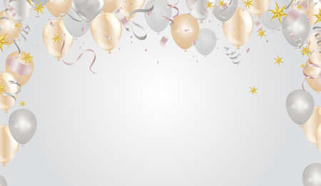 Happy Easter banner with metallic golden eggs and confetti on the golden background