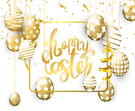Happy Easter banner with golden eggs on background Illusztráció