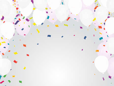 Celebration party banner with Silver color balloons background. Sale Vector