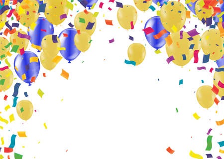 Vector party balloons gold illustration. Confetti and ribbons flag ribbons, Celebration background template