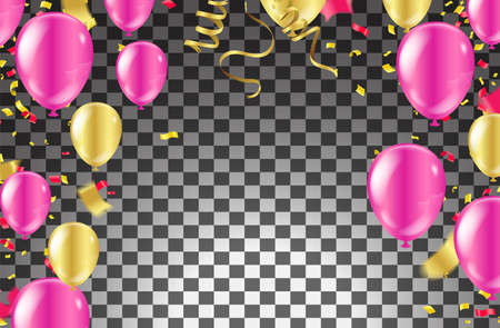 Birthday and celebration banner colorful balloons, falling confetti for poster, invitation Stock fotó