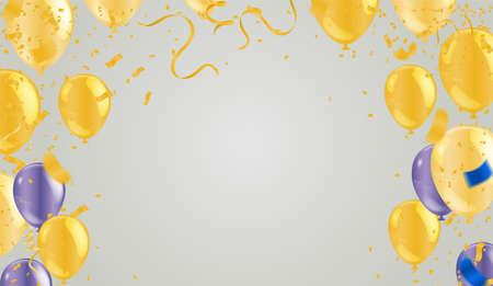 Gold confetti celebration. New year, birthday, valentines day Illusztráció