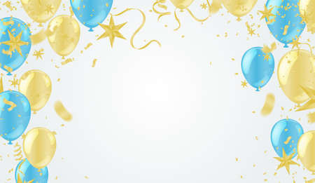 colorful balloons, vector illustration. Confetti and flag ribbons, Celebration background template with.
