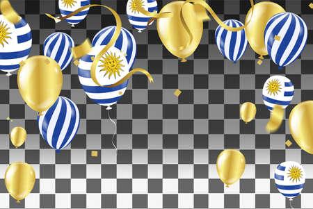 Uruguay Independence Day Patriotic Design. Balloons in Uruguayan National Colors .Uruguay balloons