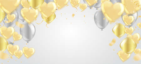 Gold balloons and Celebration background template with confetti and gold ribbons. luxury