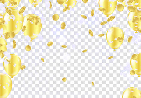 Falling gold coins and balloons . Rain from golden coins. Coins with dollar sign isolated on white background