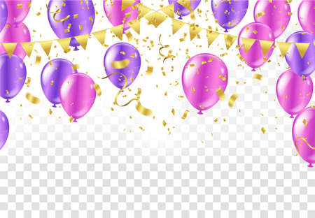 Collection of light purple balloons flying in a row. Isolated on background