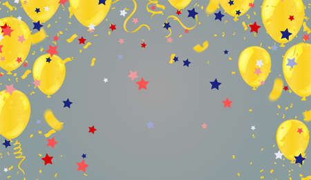yellow gold balloons illustration confetti and ribbons flag Celebration background template typography for greeting card, festive poster etc