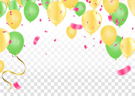 Group of  Balloons gold and light pink Background. Set of Balloons for Birthday, Anniversary, Celebration Party Decorations. Vector Illustration EPS 10 Vectores