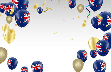 New Zealand Independence Day poster. Patriotic holiday.New Zealand balloons Vectores