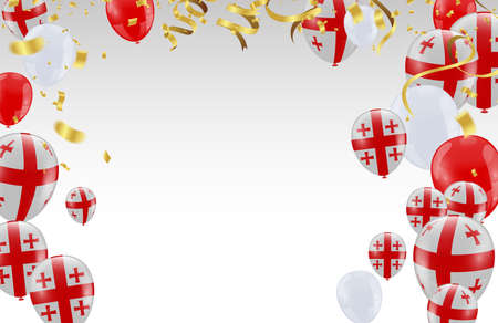 Celebration party banner with  balloons  gold and serpentine Vectores