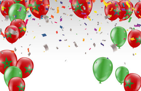 Celebration party banner with  balloons full color and serpentine