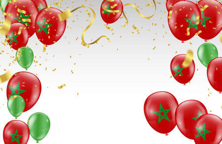 Celebration party banner with  balloons gold and red and serpentine