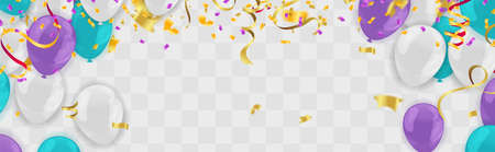 Celebration party banner with  balloons blue purple and white and serpentine Illustration