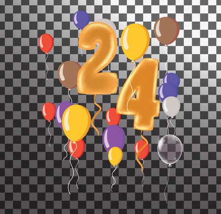 Happy Birthday twenty four year, fun celebration anniversary greeting card with number, balloon on background Illustration