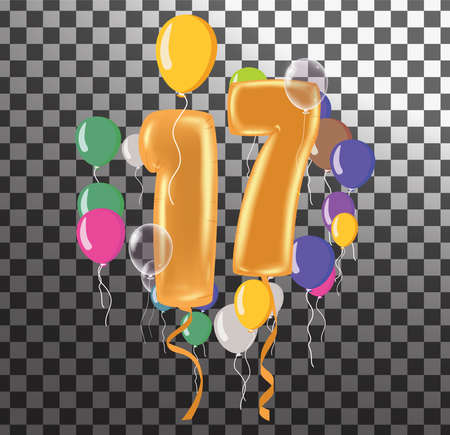 Happy Birthday seventeen year, fun celebration anniversary greeting card with number, balloon on background