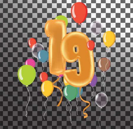 Happy Birthday fifty year, fun celebration anniversary greeting card with number, balloon on background