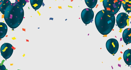 Festive card with flying balloons on a bright background, vector party, celebration for anniversary border