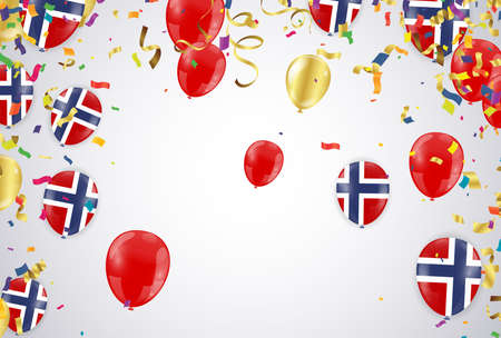 Colorful balloons White with triangular party flags, confetti and paper streamers Place for your text. Design