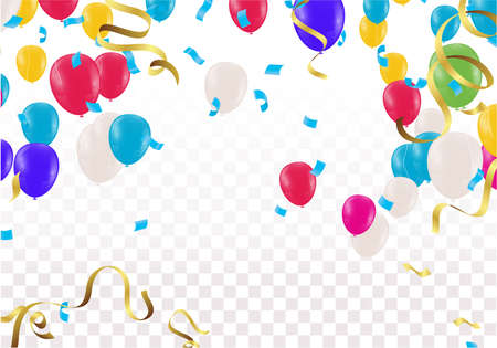 Creative kids cards with Balloons variety of colors  decoration and  texture. Horizontal banner with top and down borders