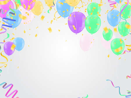 birthday greeting , Balloons pink, Background Card Template Glossy Helium Vector Illustration EPS10