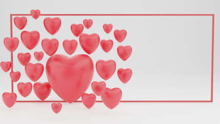 Happy valentines day red heart romantic White valentine background Floating hearts with happy greetings